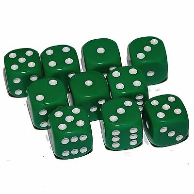 10 Green Dice, (six sided), 16mm , D6