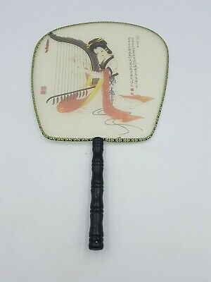 Vtg Chinese Silk Screen Paddle Fan Bamboo Handle Handpainted Geisha Playing Harp