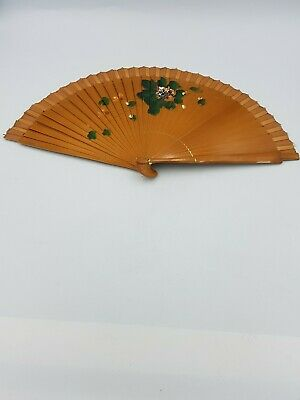 Vintage Chinese Bamboo Lacquer Ware Folding Fan Hand Painted Floral Fabric Frill