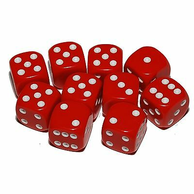 10 Red Dice, (six sided), 16mm , D6