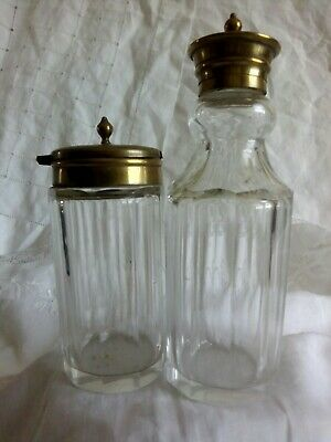 Antique Good Quality Cut Glass Condiment Set of Two