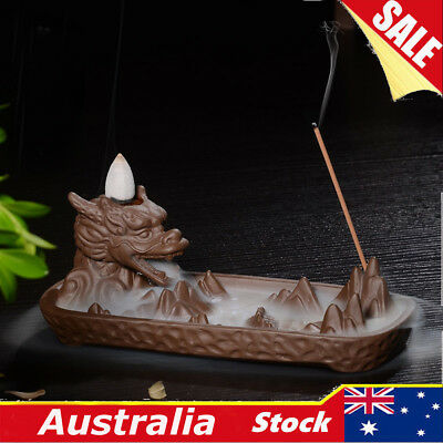 Dragon Pond Incense Stick Cones Burner Holder Ash Catcher Backflow Censer Gift