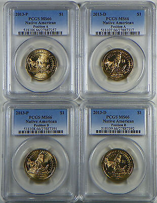2013 P&D PCGS MS66 Sacagawea Native American Dollar Position A&B 4 Coin Set