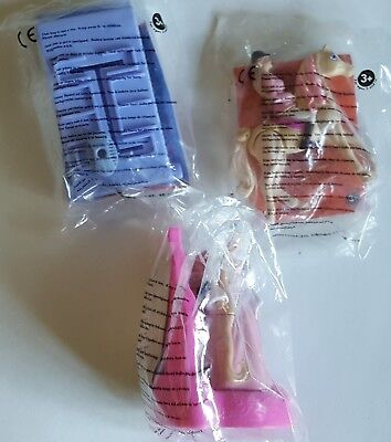 2002 Burger King Uk - Barbie - Complete Set Of 3 Toys Mint In Package.