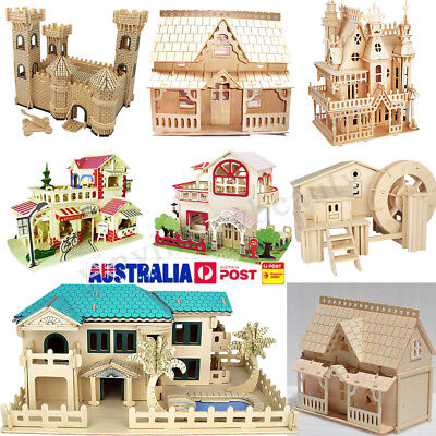 Wooden Doll House Dollhouse Furniture Miniature Kit w/ Furniture Toy Crafts Gift