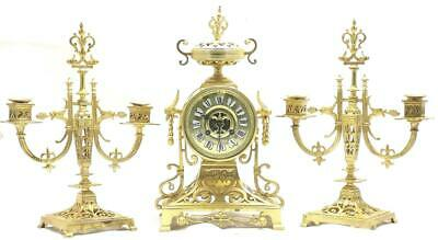 Antique French mantle Clock Stunning Pierced Gilt Bronze 8 Day Garniture Set