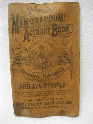 1909 Dr Pierces Memo Acct Book Medicine Cure Salve Booklet Old Antique Vtg Paper