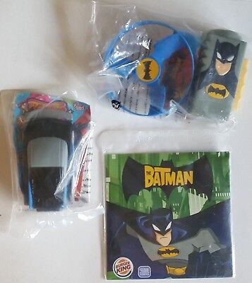 2006 Burger King Uk - Batman - Complete Set Of 3 Toys Mint In Package.