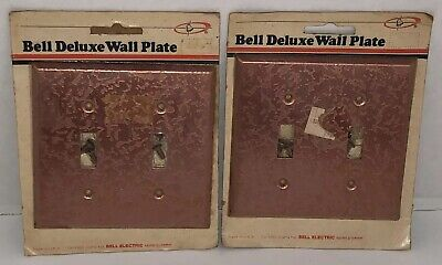 VTG BELL ELECTRIC 1961 PINK MCM Lot of 2 Double Light Switch Cover Wallplate NOS