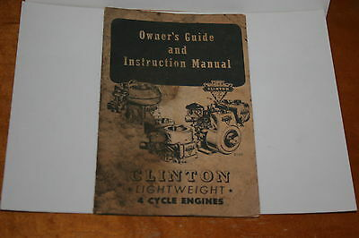 1950's CLINTON MACHINE COMPANY LIGHTWEIGHT 4 CYCLE ENGINE OWNERS GUIDE & MANUAL