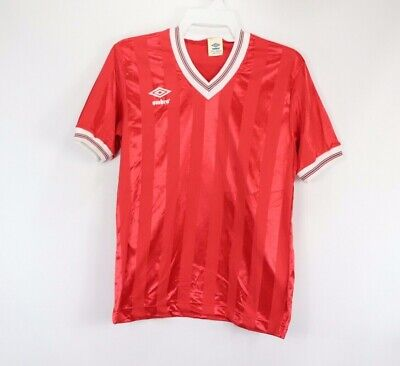 845aabb5d8 Vintage 80s New Umbro Mens Medium Striped England World Cup Soccer Jersey  Red