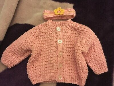 BRAND NEW Hand Knitted Baby Girls Pink Cardigan & Headband 0-3 Months