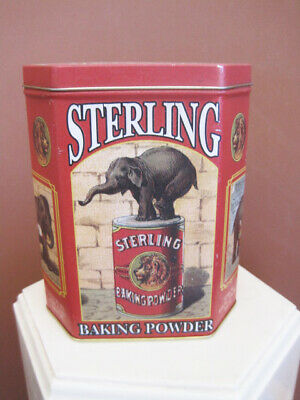 Vintage  Sterling Baking Powder Tin Box with Elephant  Excellent