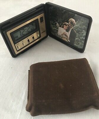 Vintage SMITHS retro 80's digital travel alarm clock and photo frame gold tone