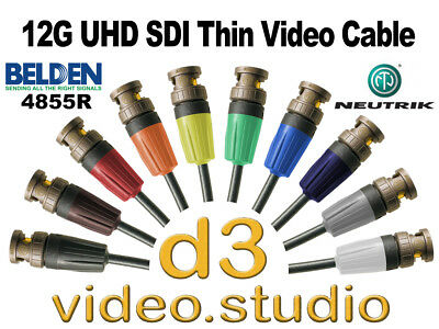 New 12G UHD SDI Digital Video Belden 4855R thin cable with Neutrik UHD BNC Plugs