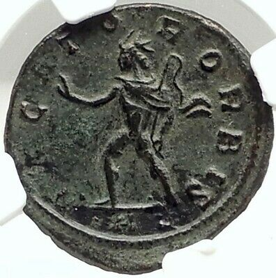 AURELIAN Authentic 275AD CONQUEST of LYONS LUGDUNUM Rare Roman Coin NGC i76297