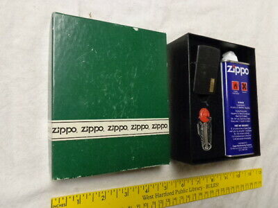 Zippo Boxed Gift Set, Unused, Lighter, Flints, Can in Orig Box, Black Finish, NM