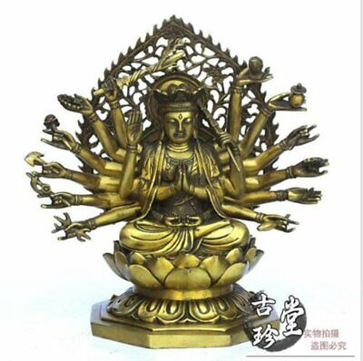 Chinese Buddhist Pure Brass Eight Arm Thousand-hand Kwan-yin Statue Other Chinese Antiques