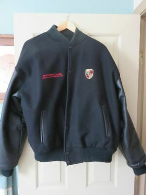 534d5e24f PORSCHE MENS LARGE Black Leather/Wool Varsity Jacket - Excellent Condition