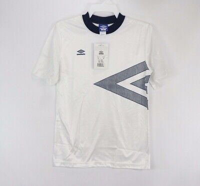 3a0d2539394 Vintage 90s New Umbro Mens XL Spell Out Azteca Short Sleeve Soccer Jersey  White