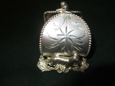 antique USA silver/silverplate figural napkin ring/holder 2 dogs PURSE van Bergh