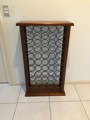 Wine Rack Timber Cabinet Holds 50 Bottles Teak & Metal