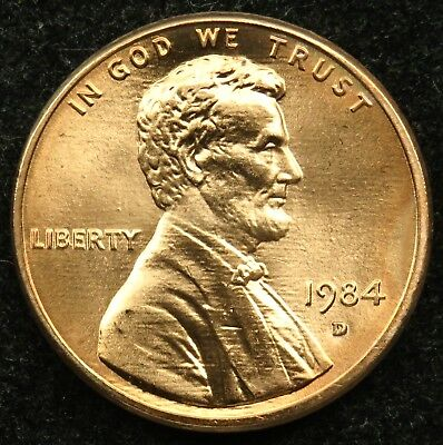 1984 D Uncirculated Lincoln Memorial Cent Penny BU (B01)