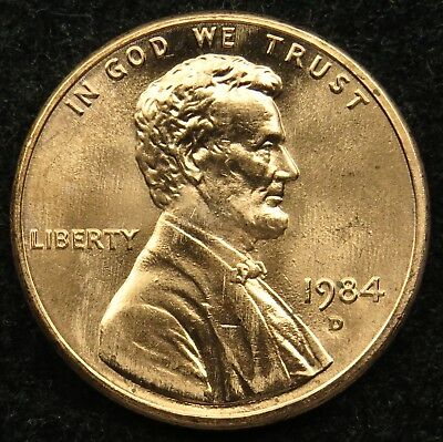1984 D Uncirculated Lincoln Memorial Cent Penny BU (B04)