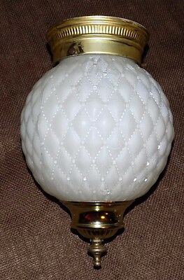 Vintage White Frosted Ceiling Globe Quilted Glass Fitter Light Fixture Round Vtg