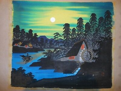 Unframed Japanese Silk Painting Mid century Signed Forest Mill Boat Temple Art
