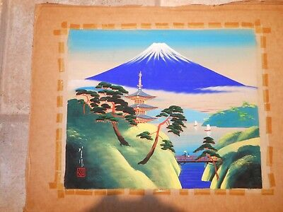 Unframed Japanese Silk Painting Mid century Signed Mountain Water Temple Art