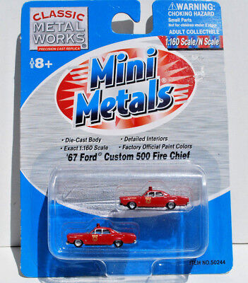 Classic Metal Works N Scale 67' Ford Custom 500 Fire Chief. New