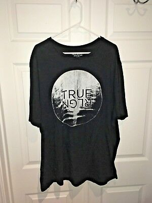 d42f7852 Mens TRUE RELIGION JEANS T-Shirt Crew Black Graphic Logo Tee Top 2XLT Big  Tall