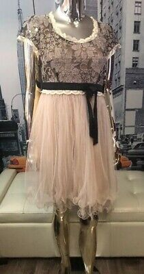 RYU Anthropologie Beige Lace Overlay Tulle Ruffle ROMANTIC Dress Sz L