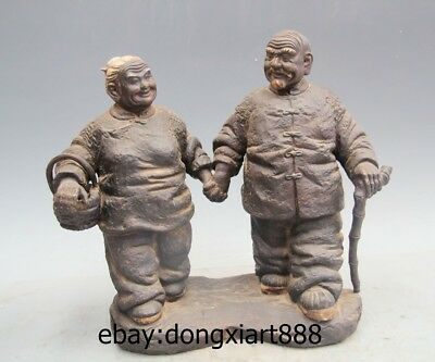 "13"" Chinese Wucai Porcelain & Pottery Old Man Women the aged affectionate Statue"