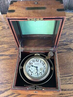 Antique Waltham Watch Co., 8 Day,  ships Chronometer, walnut cased running