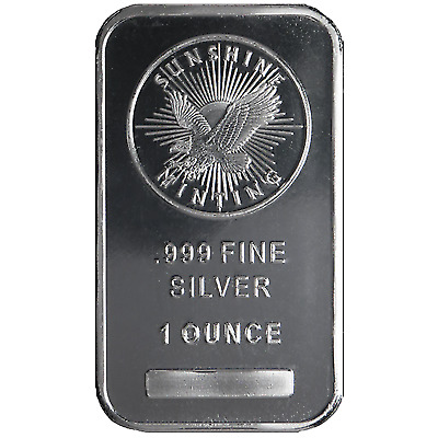 1 Troy oz Sunshine Mint .999 Fine Silver Bar Mint Mark Sealed!
