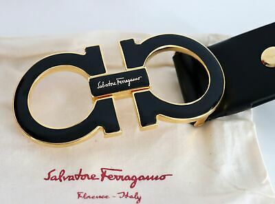NWT Salvatore Ferragamo Calfskin Leather Black Belt XL Double Gancio Buckle