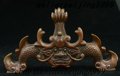 Ancient Chinese Dynasty Palace Pure Bronze Dragon Fish Penholder Pen Rack Statue