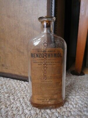 antique SHARP DOHME baltimore BENZOTHYMOL BOTTLE  quack medicine SCARLET FEVER+