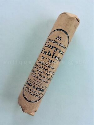 1910 antique MEDICINE GLASS BOTTLE sharp & dohme CHOCOLATE CORYZA TABLETS sealed