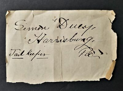 1800s antique FRAKTUR penmanship SIMON DUEY harrisburg pa JAIL KEEPER