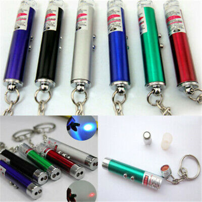 2 In1 Mini Red Laser Pointer Pen With White LED Light Child Cat Pet Toy Keychain