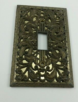 Vintage Metal Aluminum Painted Gold Light Switch Cover Plate Ornate Edmar 130 T