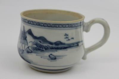 19th Century Chinese Blue & White Ceramic Cup Depicting Landscape Scenes