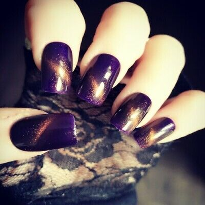 Hand Painted False Nails Purple Gold Gel Square Short Press On Nails