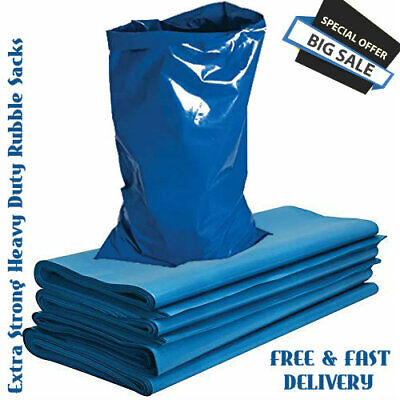 500 Gauge BLUE Extra Strong Heavy Duty Rubble Sacks High Strength Bags Builders