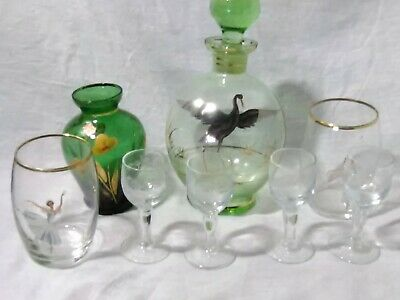 Vintage Glass Collectables 4 Etched Aperitif glasses 2 ballerina glasses 2 vases