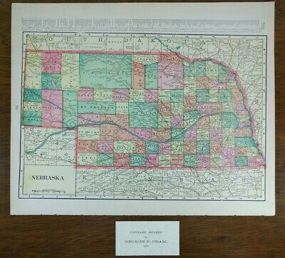 "NEBRASKA 1901 Vintage Atlas Map 14""x11"" ~ Old Antique OMAHA GRAND ISLAND"
