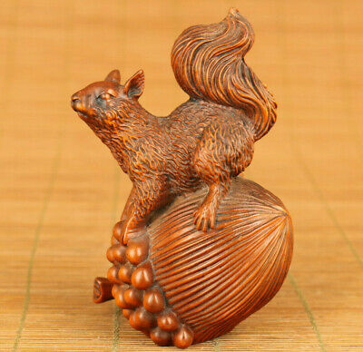 Asian old boxwood hand carving squirrel pine cone statue figue table decoration